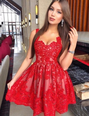 Fashion Flattering A-line Straps Appliques Elegant Lace Short Prom Dress UK on sale_1