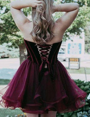 Unique Flattering A-line Different Sweetheart Elegant Lace-up Tulle Short Prom Dress UK on sale_3