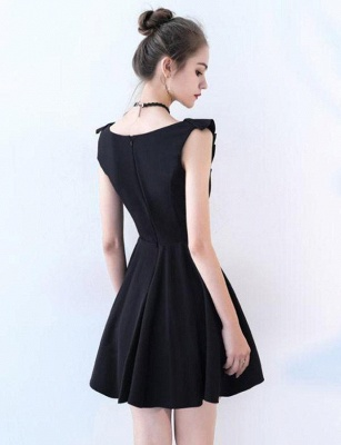 Simple Sleeveless Flattering A-line Straps V-Neck Short Prom Homecoming Dress_3