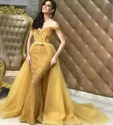 Off-the-Shoulder Soft Tulle  Mermaid Sparkly Sequins Long-Length Elegant Prom Dress Onlinees | Suzhoudress UK_1