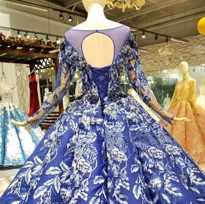 Sweep Train Long Sleeves Applique Ball Gown Floor-Length Prom Dress UK on sale_7