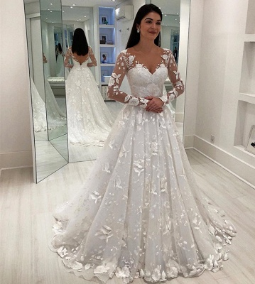 Chic Appliques V-Neck A-Line Long Sleeves Wedding Dress   Bridal Gowns On Sale_3
