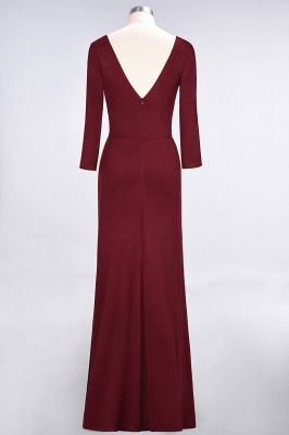 A-line Spandex V-Neck Long-Sleeves Side-Slit Floor-Length Bridesmaid Dress UK with Ruffles_32