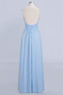 A-Line Chiffon Womens V-Neck Thin Straps Floor-Length Bridesmaid Dresses | Suzhoudress UK_2