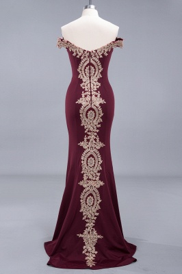 Charming Off-The-Shoulder Floor-Length Mermaid Fit and Flare Appliques Zipper Prom Dress UK_5