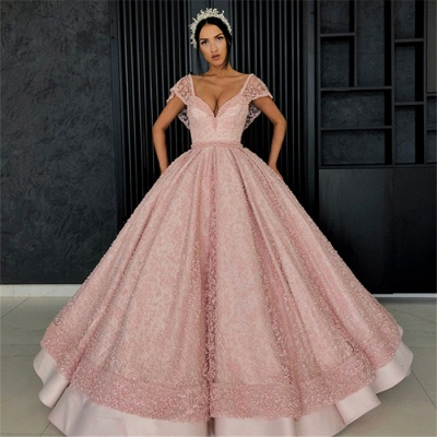 Beading V-Neck Cap-Sleeves Prom Dress UK_6