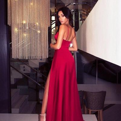 Womens V-Neck Thin Straps A-Line Front Split Online Prom Dress Sale | Suzhoudress UK_3