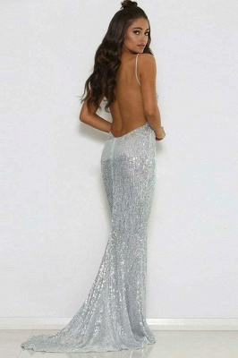 Sparkling Mermaid Fit and Flare Sequins Spaghetti-Straps Summer Long Prom Dress UK_3