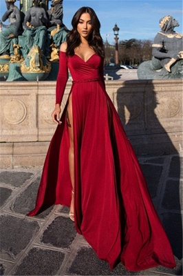 Charming Off-the-Shoulder Womens V-Neck Long Sleeves Front Slipt Online Prom Dress Sale | Suzhoudress UK_3