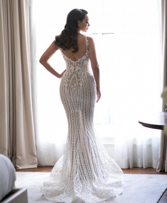 Gorgeous Spaghetti Straps Sleeveless Wedding Dress Mermaid Lace Appliques | Bridal Gowns Online_3