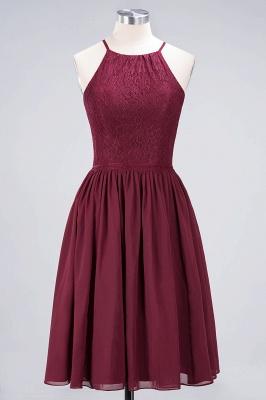 A-line Chiffon Lace Jewel Teenage Knee-Length Bridesmaid Dresses with Ruffles | Suzhoudress UK_1