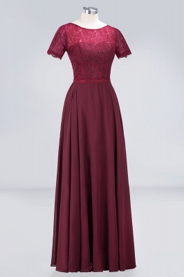 A-line Chiffon Simple Lace Round-Neck Short-Sleeves Floor-Length Bridesmaid Dress UK_3