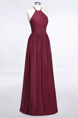 A-line Chiffon Halter Summer Floor-Length Bridesmaid Dress UK with Ruffles_3