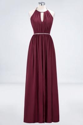 A-line Chiffon Halter Summer Floor-Length Bridesmaid Dress UK with Beading Sash_1