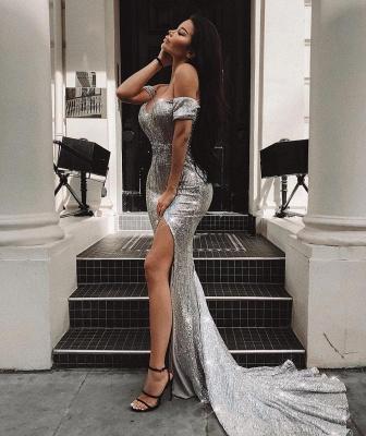 Off-the-Shoulder Teenage Best Fit Column Front Split Online Prom Dress Sale | Suzhoudress UK_1