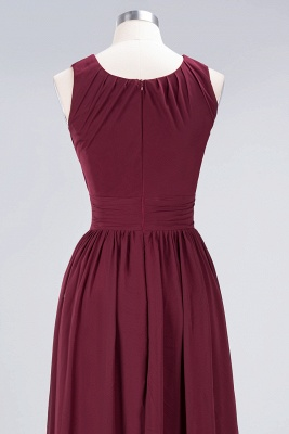 A-line Chiffon Round-Neck Summer Floor-Length Bridesmaid Dress UK with Ruffles_6