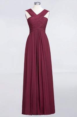 A-line Chiffon V-Neck Straps Summer Floor-Length Bridesmaid Dress UK with Ruffles_1