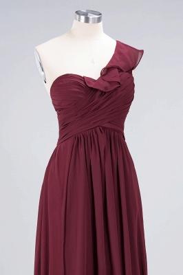 A-line Chiffon One-Shoulder Sweetheart Summer Floor-Length Bridesmaid Dress UK with Ruffles_5