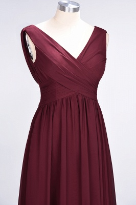 A-line Chiffon Straps V-Neck Summer Floor-Length Bridesmaid Dress UK with Ruffles_5