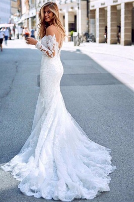 Affordable Mermaid Appliques Long Wedding Dresses Off-the-Shoulder Long Sleeves Bridal Gowns On Sale_3