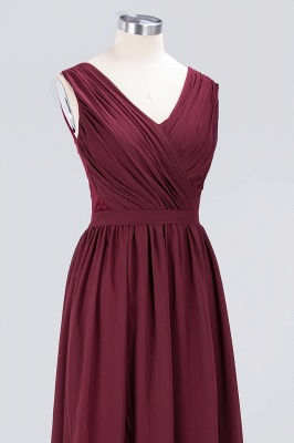 A-line Chiffon Simple Lace V-Neck Summer Floor-Length Bridesmaid Dress UK with Ruffles_5