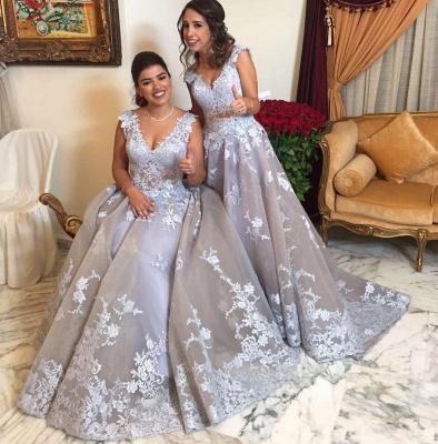 Elegant Straps Appliques Womens V-Neck Teenage A-Line Bridesmaid Dress | Suzhoudress UK_5