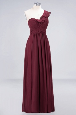 A-line Chiffon One-Shoulder Sweetheart Summer Floor-Length Bridesmaid Dress UK with Ruffles_3
