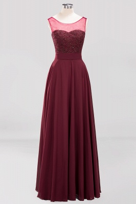 A-Line Chiffon Tulle Lace Beadings Jewel Teenage Floor-Length Bridesmaid Dresses with Sash   Suzhoudress UK_1
