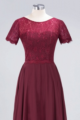 A-line Chiffon Simple Lace Round-Neck Short-Sleeves Floor-Length Bridesmaid Dress UK_4