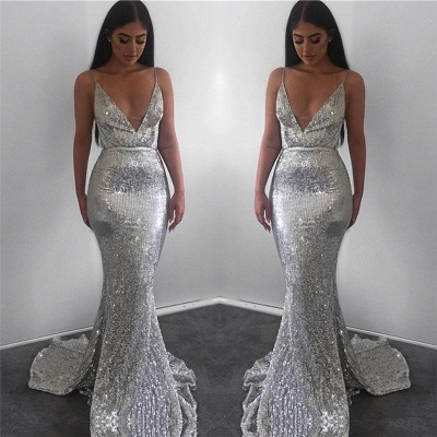 Sparkling Mermaid Fit and Flare Sequins Spaghetti-Straps Summer Long Prom Dress UK_4