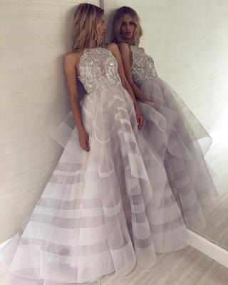 A-line Appliques Halter Summer Long Length Prom Dress UK_4