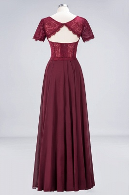 A-line Chiffon Simple Lace Round-Neck Short-Sleeves Floor-Length Bridesmaid Dress UK_2