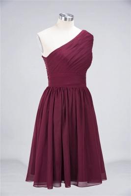 A-line Chiffon One-Shoulder Summer Knee-Length Bridesmaid Dress UK with Ruffles_4