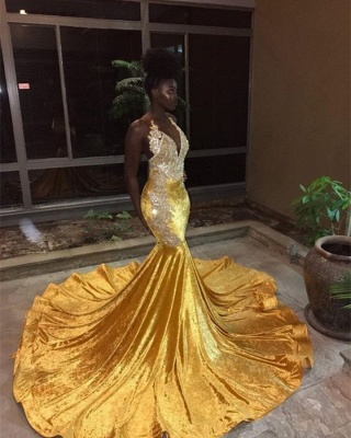 Elegant Womens V-Neck Teenage Sexy Trumpet/Mermaid Appliques Yellow Online Prom Dress Sale | Suzhoudress UK_1