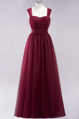 A-Line Chiffon Sweetheart Straps Sleeves Floor-Length Bridesmaid Dresses with Ruffles | Suzhoudress UK_3