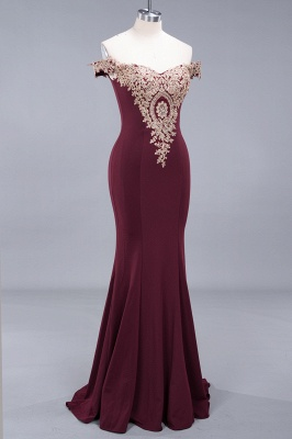 Charming Off-The-Shoulder Floor-Length Mermaid Fit and Flare Appliques Zipper Prom Dress UK_4