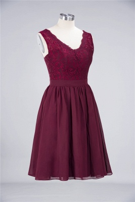 A-line Chiffon Simple Lace V-Neck Summer Knee-Length Bridesmaid Dress UK with Ruffles_3