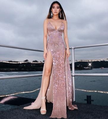 Womens V-Neck Thin Straps Best Fit Column Front Split Online Prom Dress Sale | Suzhoudress UK_1