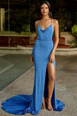 Fashion Thin Straps Teenage Front Slipt Best Fit Column Online Prom Dress Sale | Suzhoudress UK_1