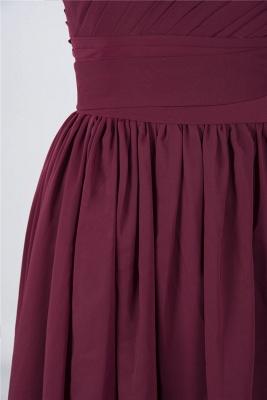 A-line Chiffon One-Shoulder Summer Knee-Length Bridesmaid Dress UK with Ruffles_6