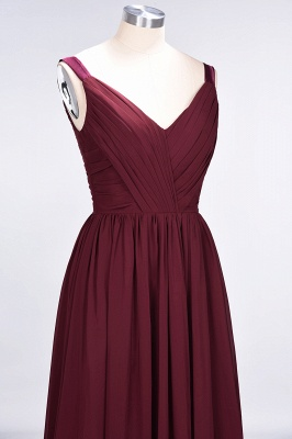 A-line Chiffon Straps V-Neck Summer Backless Floor-Length Bridesmaid Dress UK with Ruffles_6