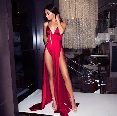 Womens V-Neck Thin Straps A-Line Front Split Online Prom Dress Sale | Suzhoudress UK_1
