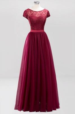 A-Line Chiffon Jewel Teenage Floor-Length Bridesmaid Dresses with Ruffles | Suzhoudress UK_1