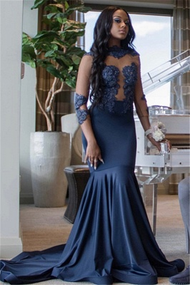 Elegant Mermaid Fit and Flare Appliques 3/4 Sleeves Long Prom Dress UK_3