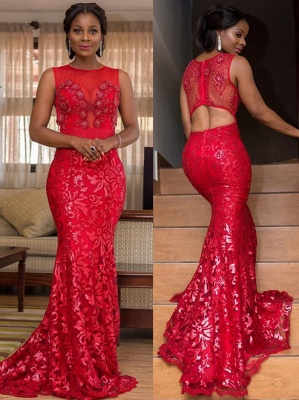 Appliques Jewel Summer Mermaid Fit and Flare Prom Dress UK_1