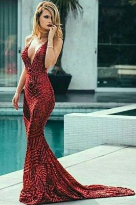 Fashion Thin Straps Teenage Womens V-Neck Shining Sequins Sexy Trumpet/Mermaid Online Prom Dress Sale   Suzhoudress UK_4