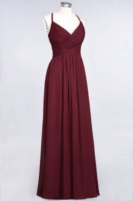 A-line Chiffon Spaghetti-Straps V-Neck Summer Floor-Length Bridesmaid Dress UK with Ruffles_37
