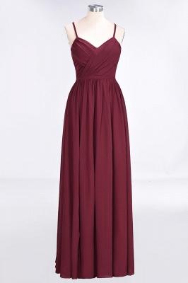 A-line Chiffon Spaghetti-Straps V-Neck Summer Floor-Length Bridesmaid Dress UK with Ruffles_1