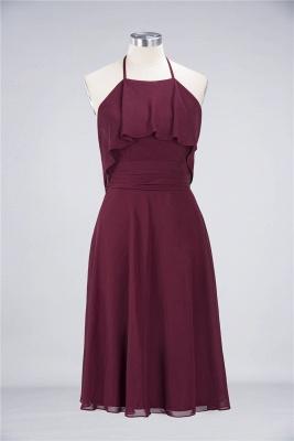 A-line Chiffon Halter Summer Knee-Length Bridesmaid Dress UK with Ruffles_1