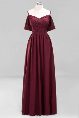 A-Line Chiffon Womens V-Neck Thin Straps Short-Sleeves Floor-Length Bridesmaid Dresses with Ruffles | Suzhoudress UK_8